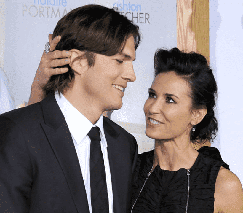 """Ashton Kutcher and Demi Moore on the red carpet for the Premiere of """"No Strings Attached,"""" at the Regency Village Theatre, on January 11, 2011, California 