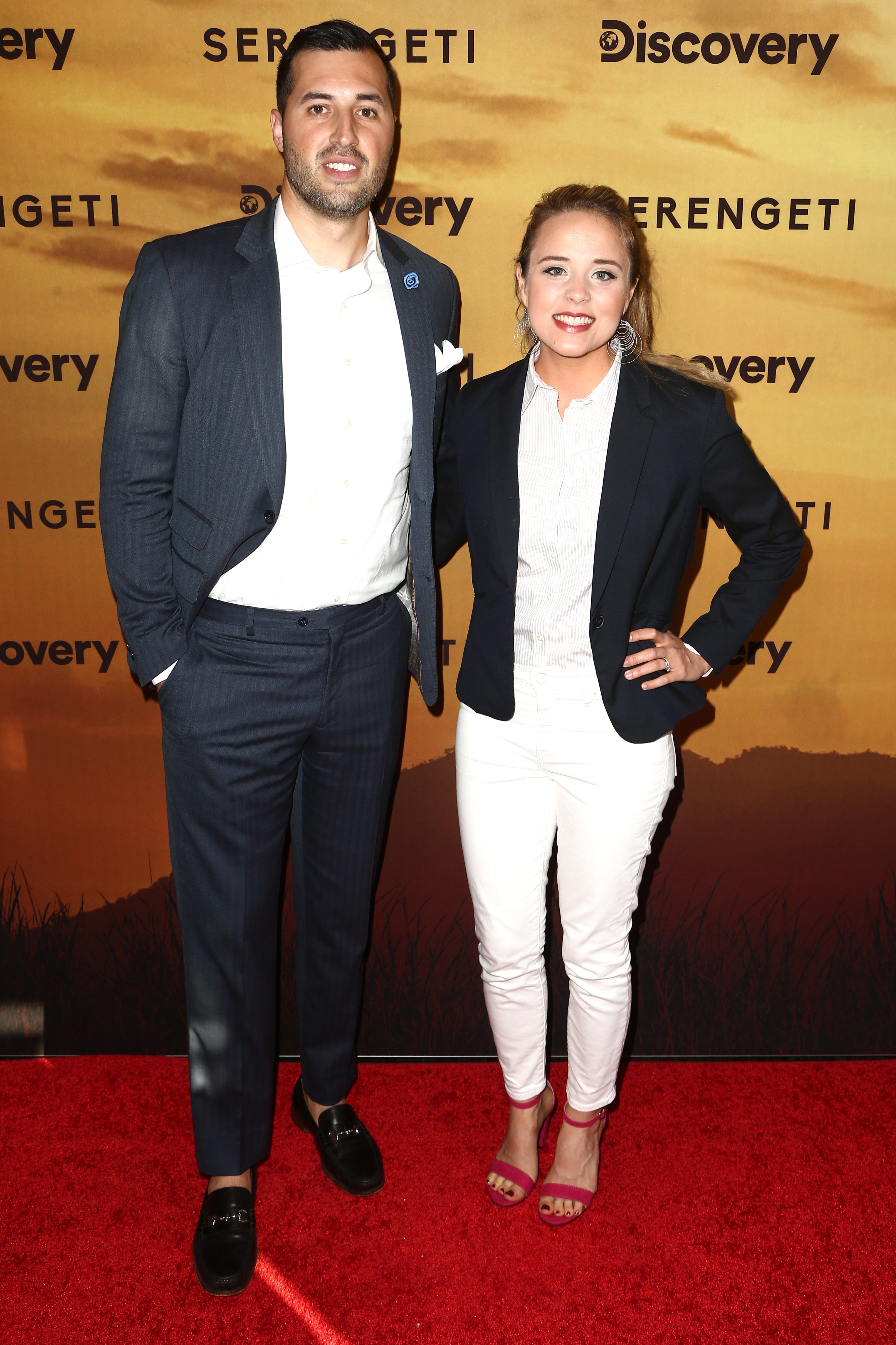 """Jeremy Vuolo and Jinger Duggar Vuolo attend the Los Angeles Special Screening Of Discovery's """"Serengeti"""" on July 23, 2019, in Beverly Hills, California. 