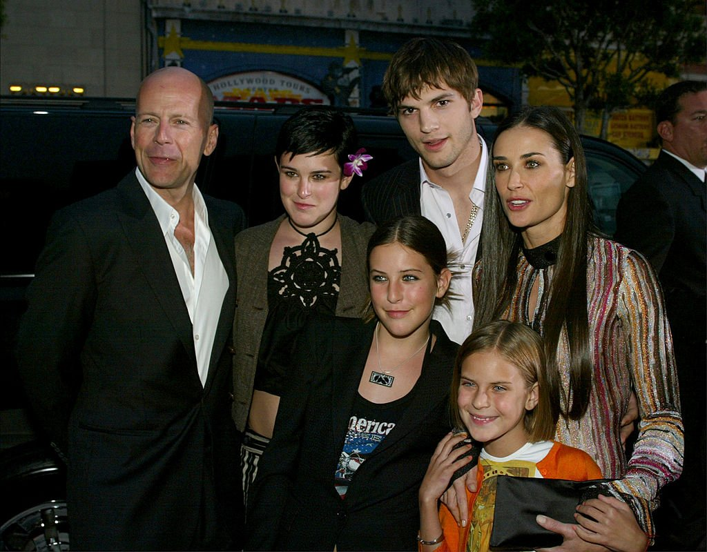 """Bruce Willis, Demi Moore, daughters Rumer, Scout, Tallulah and Ashton Kutcher pictured at the premiere of Columbia Pictures' film """"Charlie's Angels 2: Full Throttle,"""" 2003. 