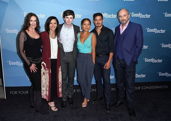 """Sheila Kelley, Tamlyn Tomita, Freddie Highmore, Antonia Thomas, Nicholas Gonzalez, and Richard Schiff attend For Your Consideration Event for ABC's """"The Good Doctor"""" at Sony Pictures Studios on May 22, 2018 in Culver City, California. 