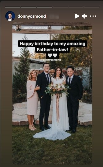 Photo of Donny Osmond during the wedding of his son , Joshua Osmond and Summer Osmond | Photo: Instagram / donnyosmond