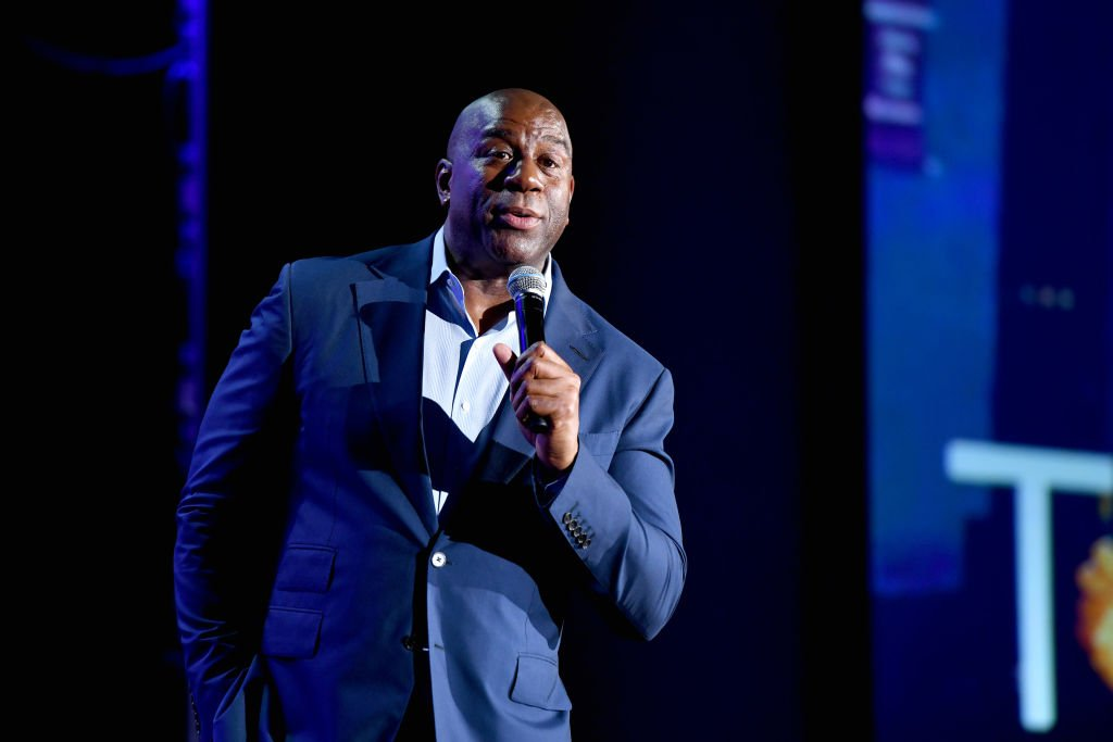 "Earvin ""Magic"" Johnson, Chairman and CEO of Magic Johnson Enterprises speaks onstage during ONWARD19: The Future Of Search - Day 2 at Marriott Marquis Times Square 