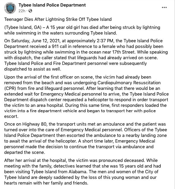 A screenshot of a release from Tybee Island Police Department | Photo: facebook.com/Tybee Island Police Department