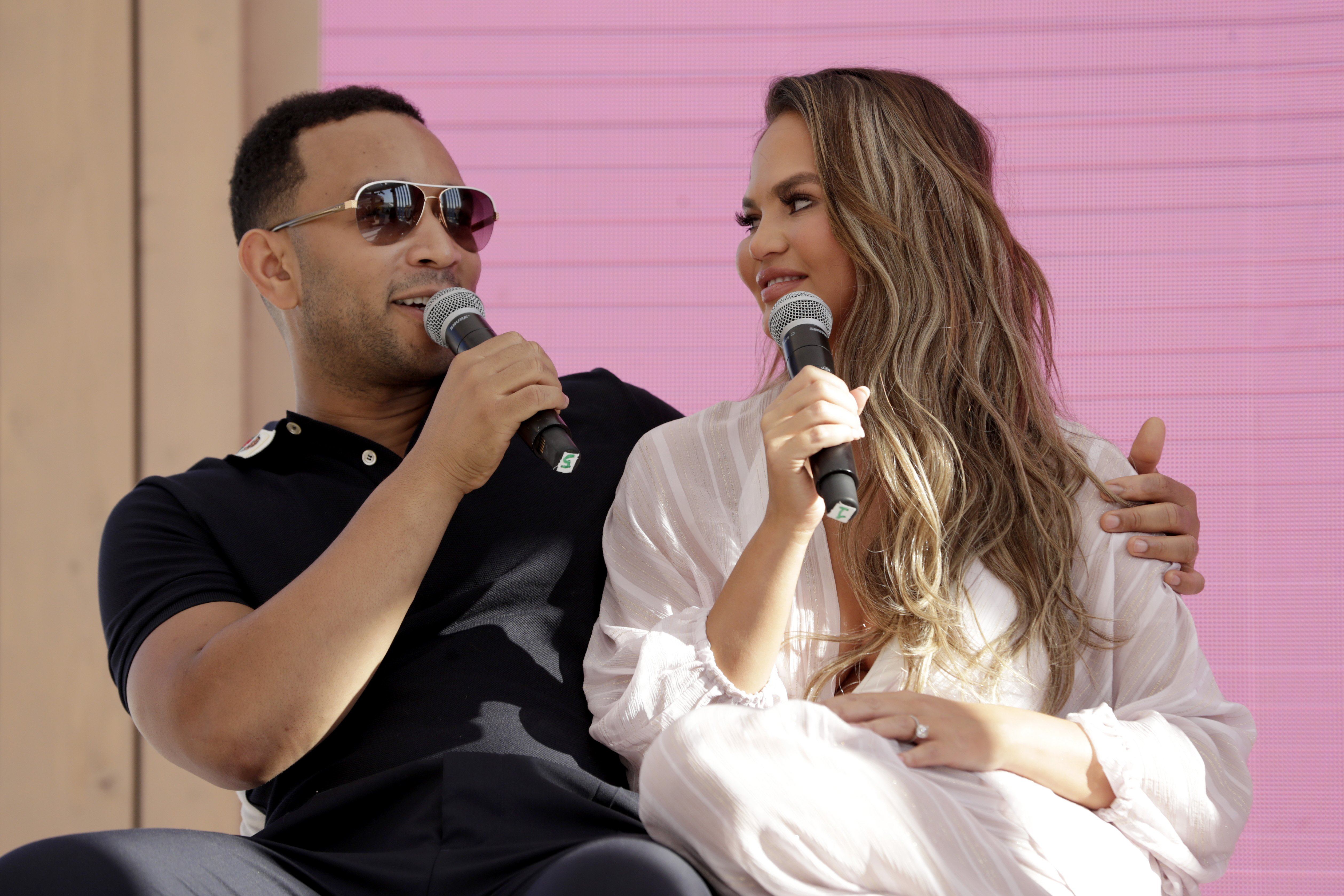 Chrissy Teigen and John Legend go behind the Tweets at #TwitterBeach at Cannes Lions on June 18, 2019 in Cannes, France | Photo: Getty Images