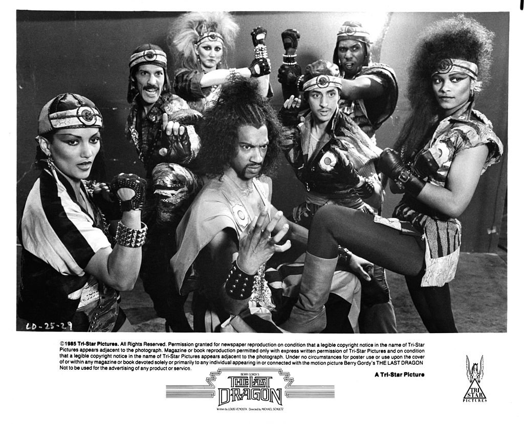 """Julius J Carry III, the Shogun of Harlem with his cronies in a scene from the film """"The Last Dragon,"""" circa 1985. 
