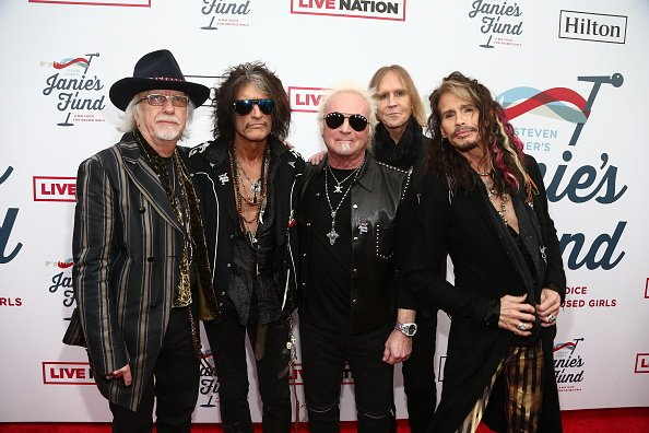 Brad Whitford, Joe Perry, Joey Kramer, Tom Hamilton, and Steven Tyler of Aerosmith at Raleigh Studios on February 10, 2019 in Los Angeles, California. | Photo: Getty Images