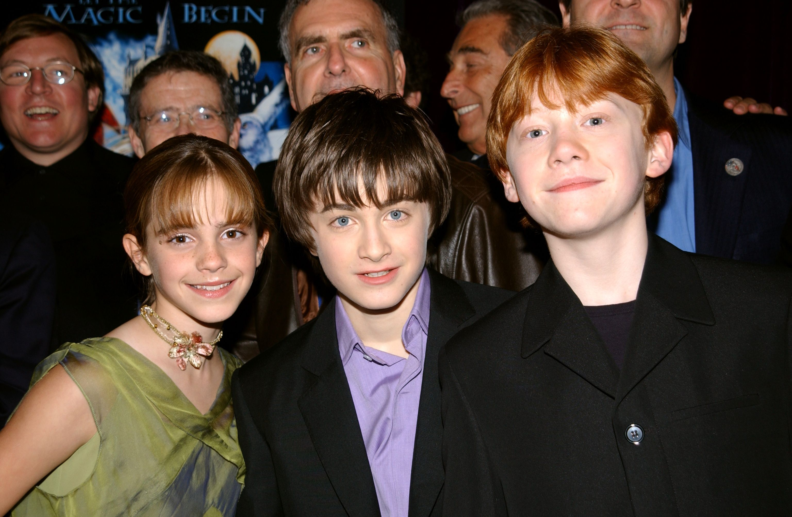 """Emma Watson, Daniel Radcliffe and Rupert Grint at the New York premiere of """"Harry Potter and the Sorcerer's Stone""""  