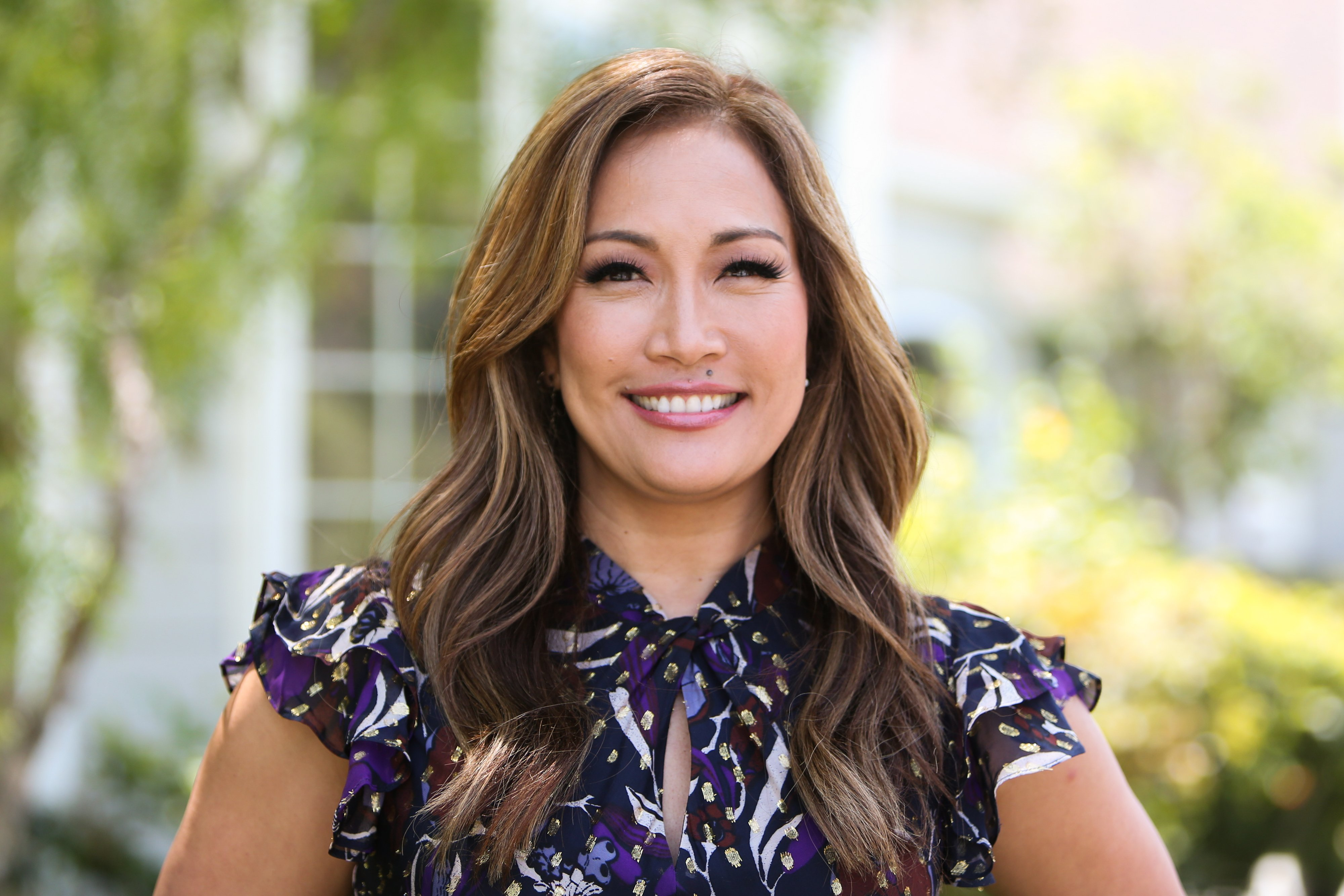 """Carrie Ann Inaba pictured visiting Hallmark's """"Home & Family"""" at Universal Studios Hollywood, 2019, California. 