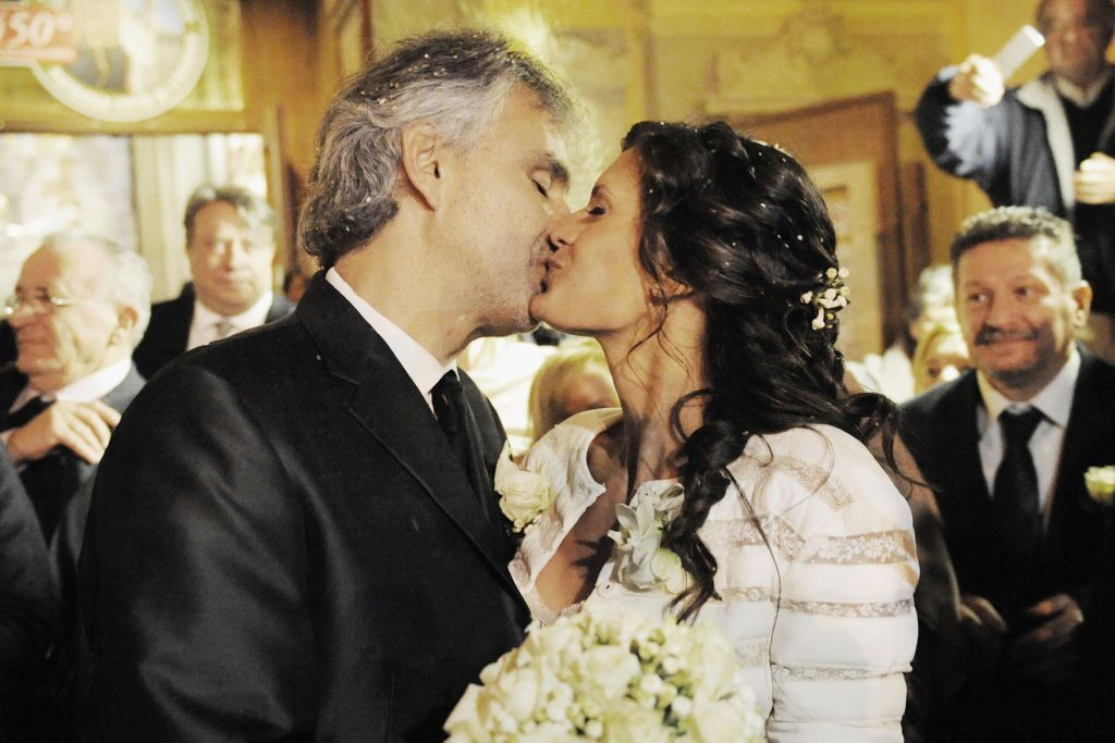 Andrea Bocelli and wife Veronica marryat the Sanctuary of Montenero in Livorno Italy in 2014 | Source: Getty Images