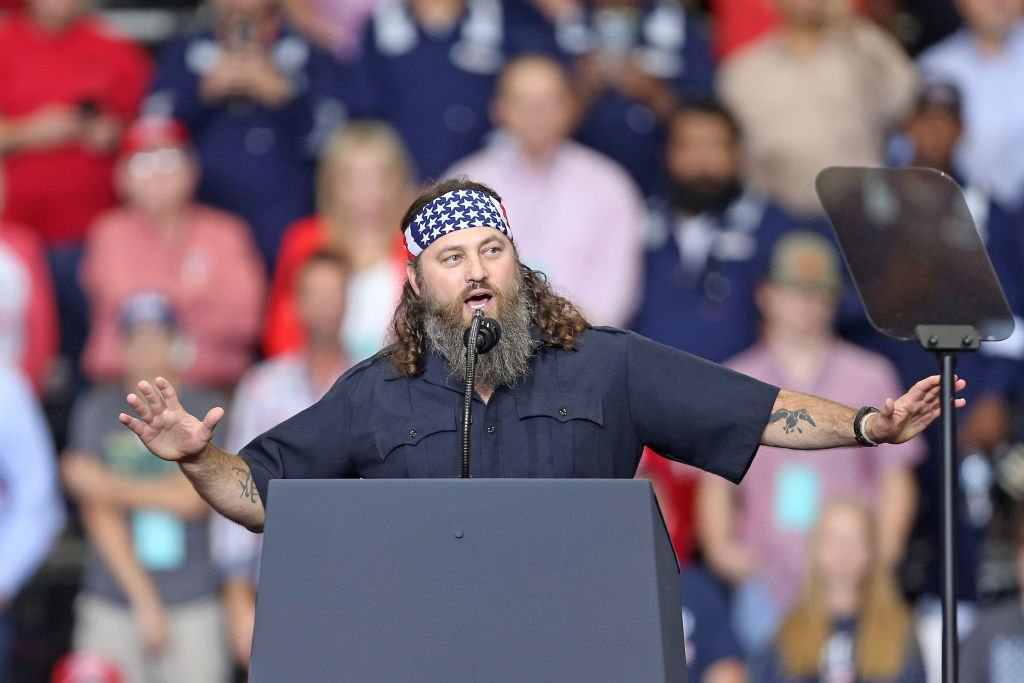 """Willie Robertson, speaks during U.S. President Donald Trump's """"Keep America Great"""" rally at the Monroe Civic Center on November 06, 2019. 