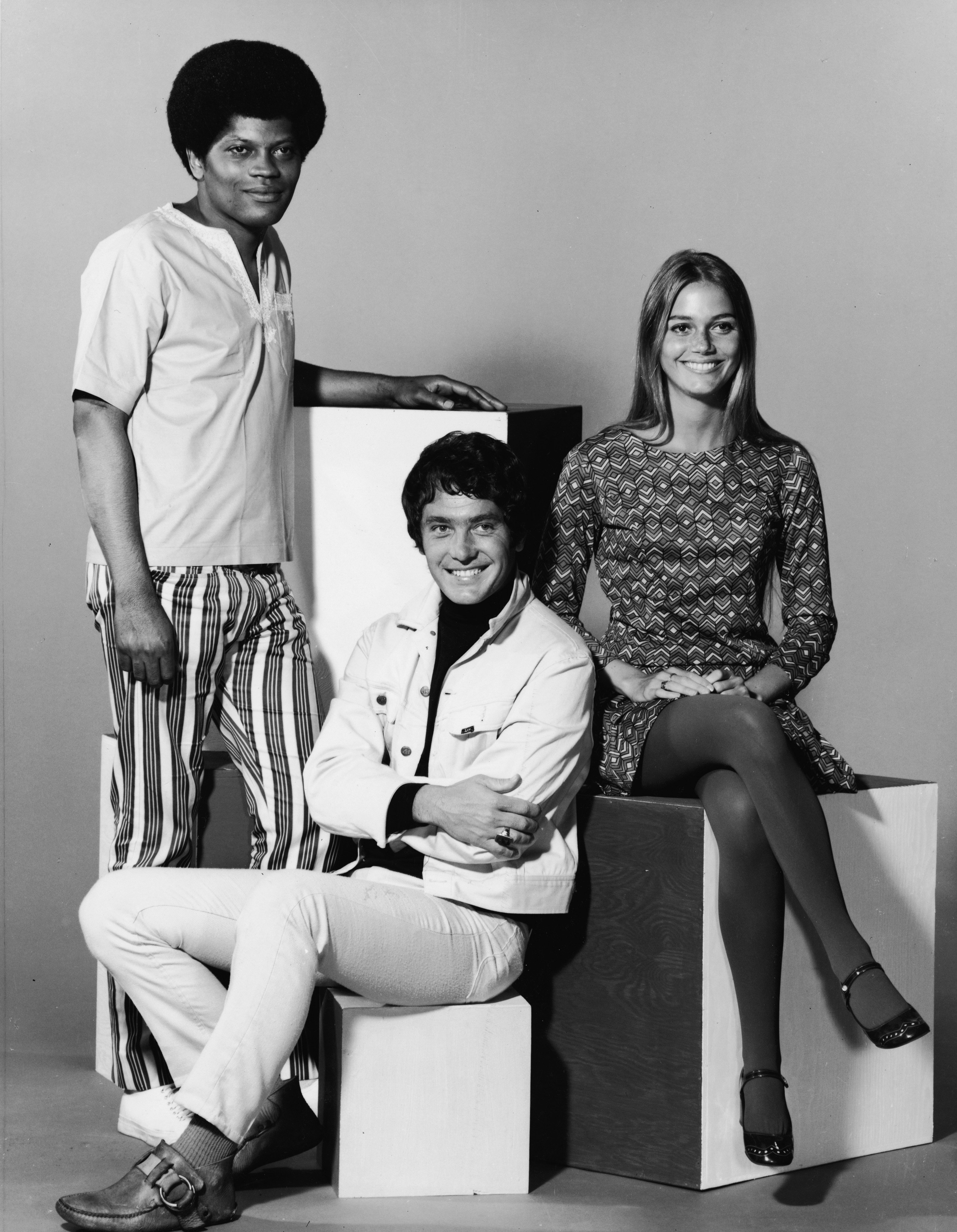 """Peggy Lipton posing with Clarence Williams III and Michael Cole for the show """"The Mod Squad"""" in 1968 