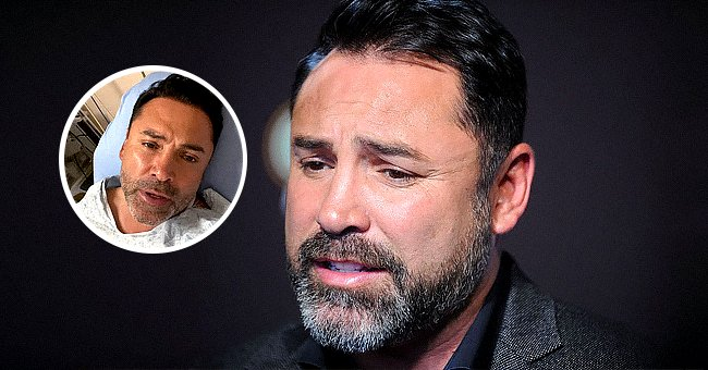 Oscar De La Hoya on June 20, 2017 in New York City and from a hospital bed in an Instagram post from September 3, 2021   Photo: Getty Images - Instagram.com/oscardelahoya