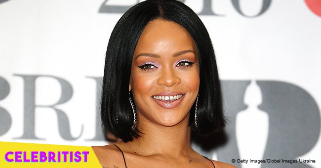 Rihanna flaunts deep cleavage in icy blue mini-dress in rare photo with mother