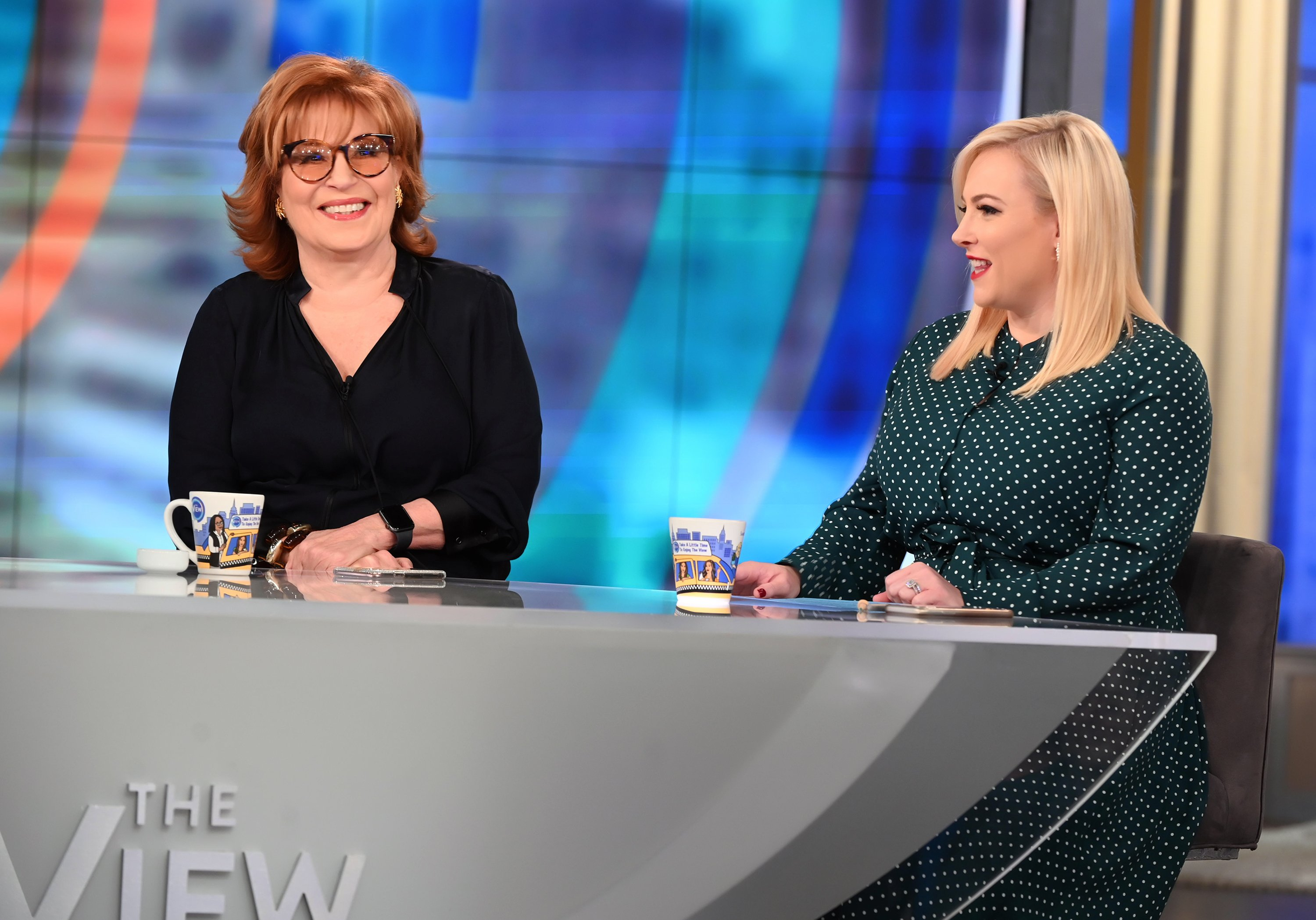 "Meghan McCain and Joy Behar during season 22 of ""The View."" 