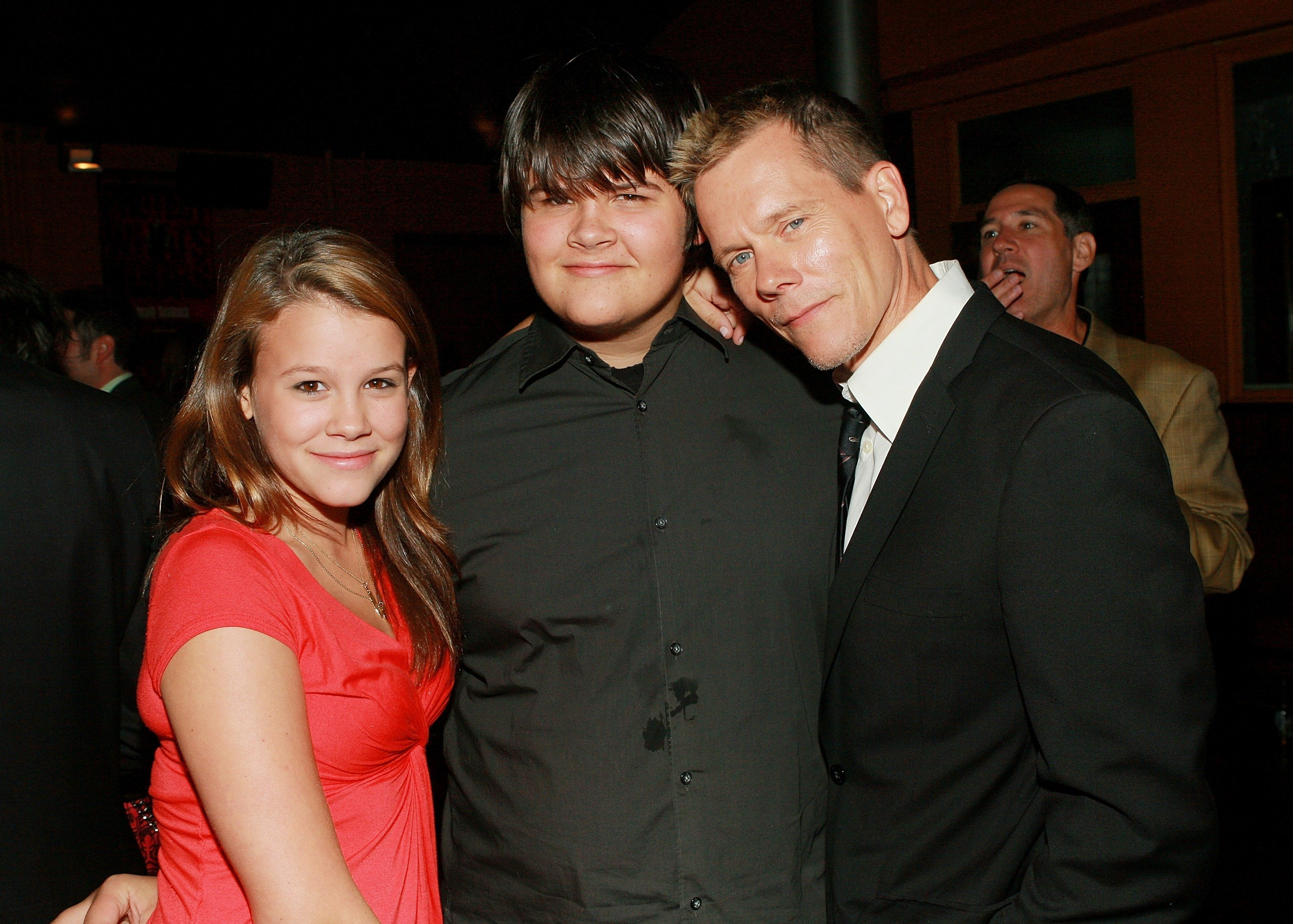 "Kevin Bacon and children Sosie and Travis attend the ""Death Sentence"" premiere after party in New York City on August 28, 2007 