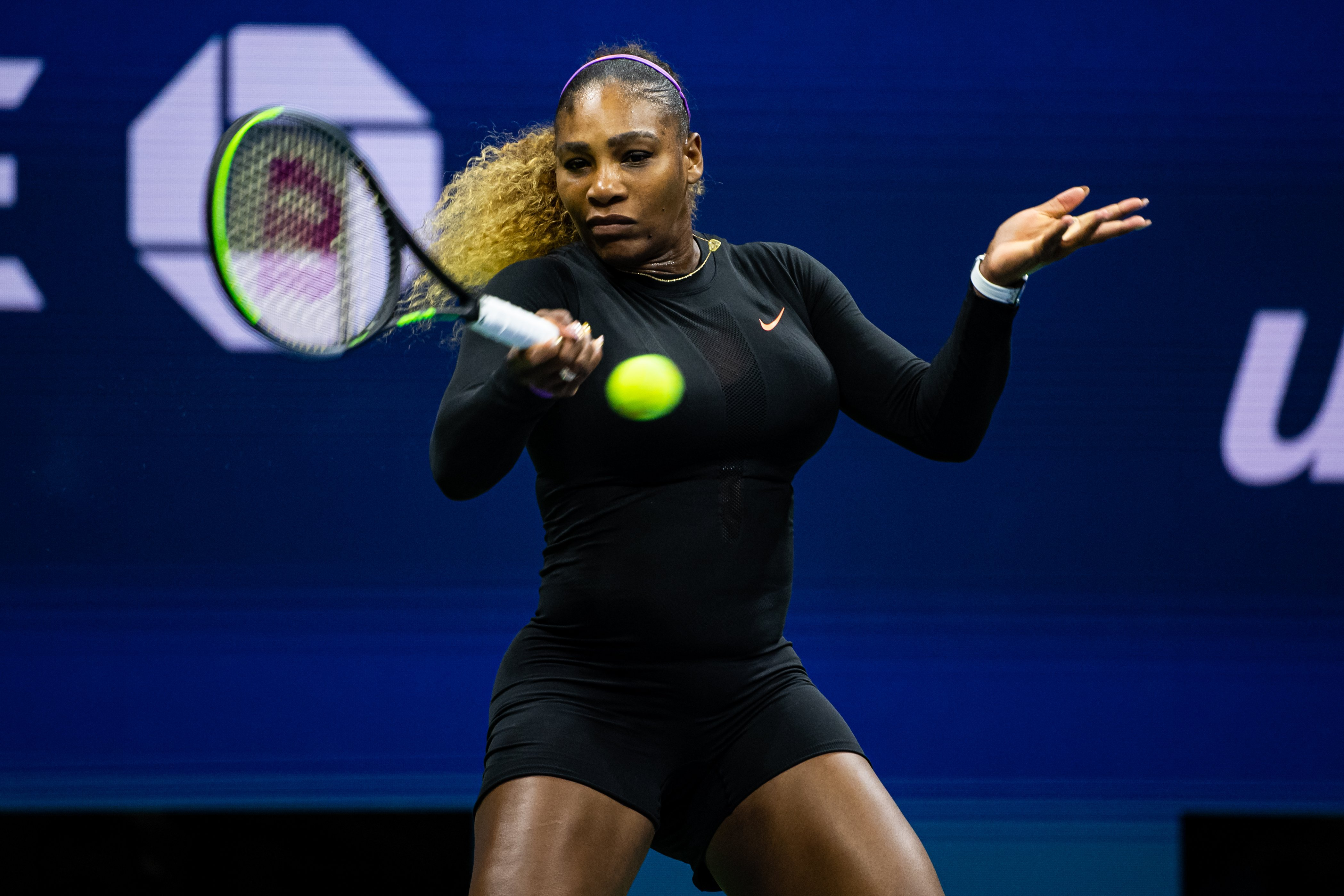 Serena Williams playing against Maria Sharapova in the first round of the US Open on Aug. 26, 2019 in New York City | Photo: Getty Images