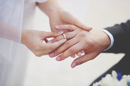 A couple exchanging wedding ring at their wedding   Photo: Getty Images