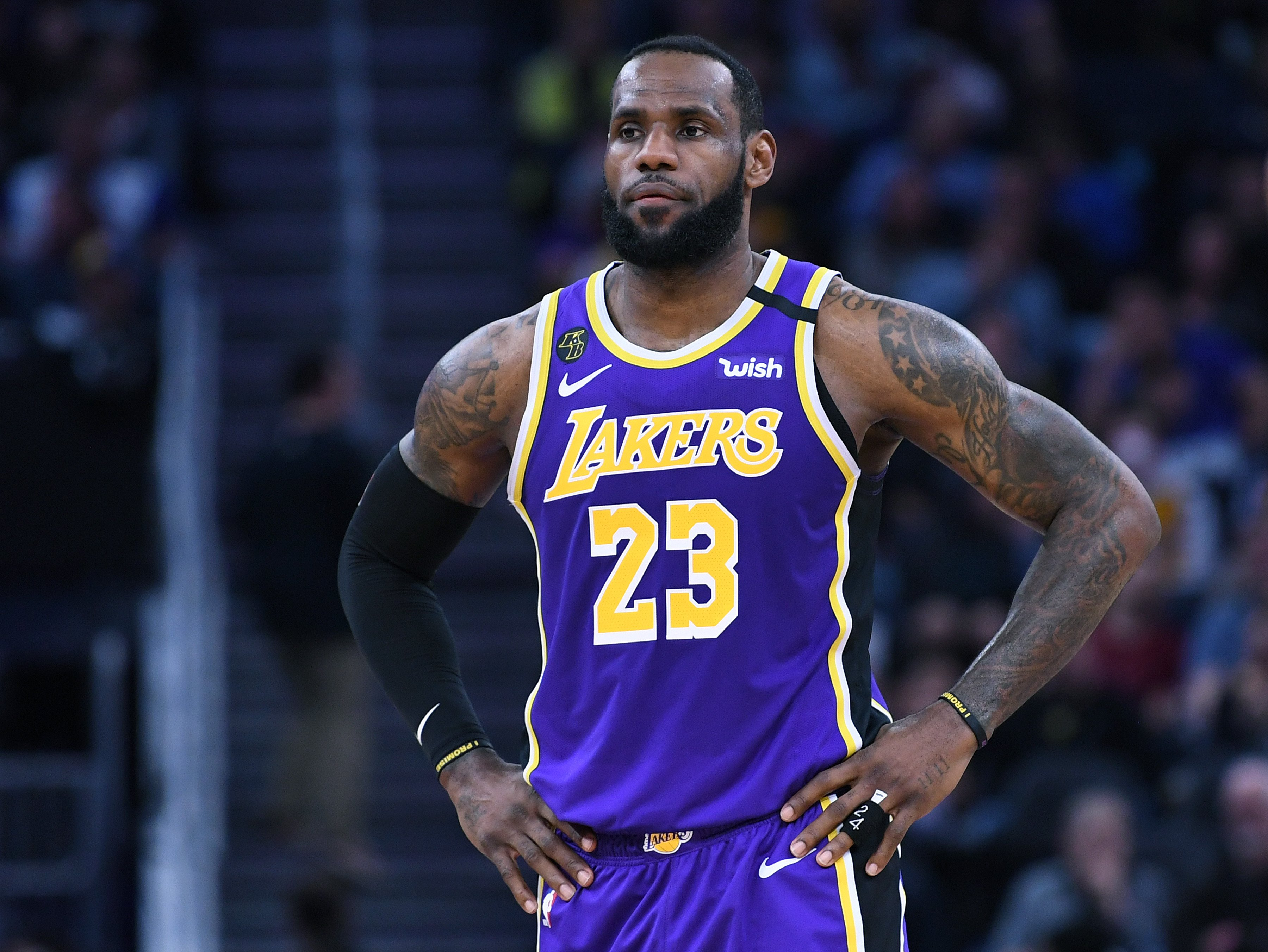 LeBron James #23 of the Los Angeles Lakers during an NBA basketball game at Chase Center on February 08, 2020, in San Francisco, California. | Source: Getty Images.
