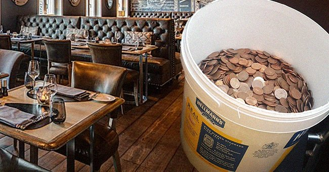 A bucket of copper coins with the inside of a restaurant in the background. | Source: twitter.com/rianjkeogh Wikimedia Commons/HHF FL/CC BY-SA 4.0