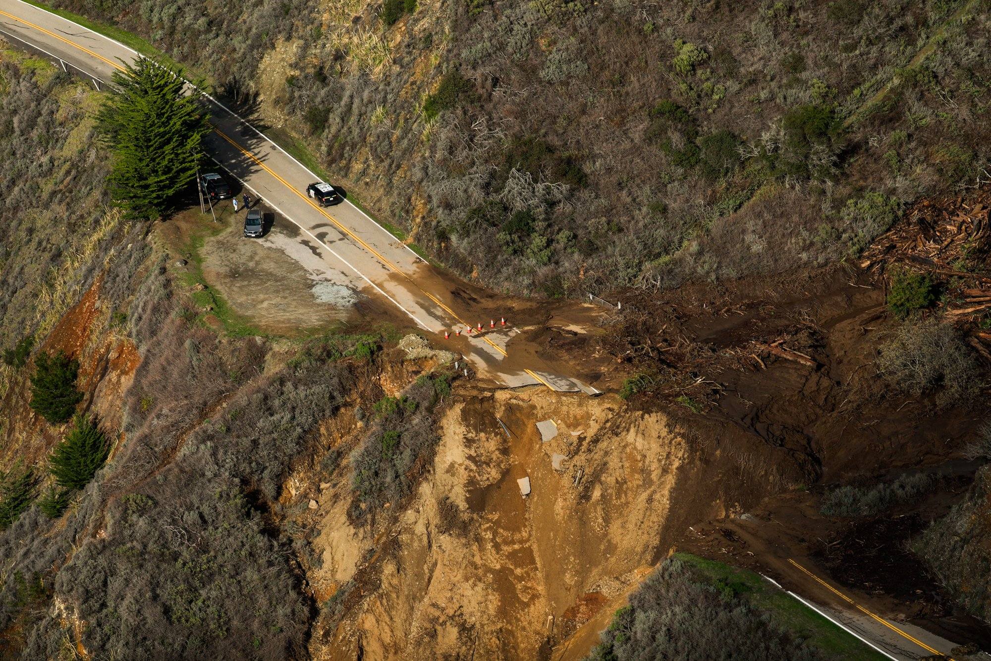 Highway collapsed under floods, 29 January, 2021. |Photo: Getty Images.