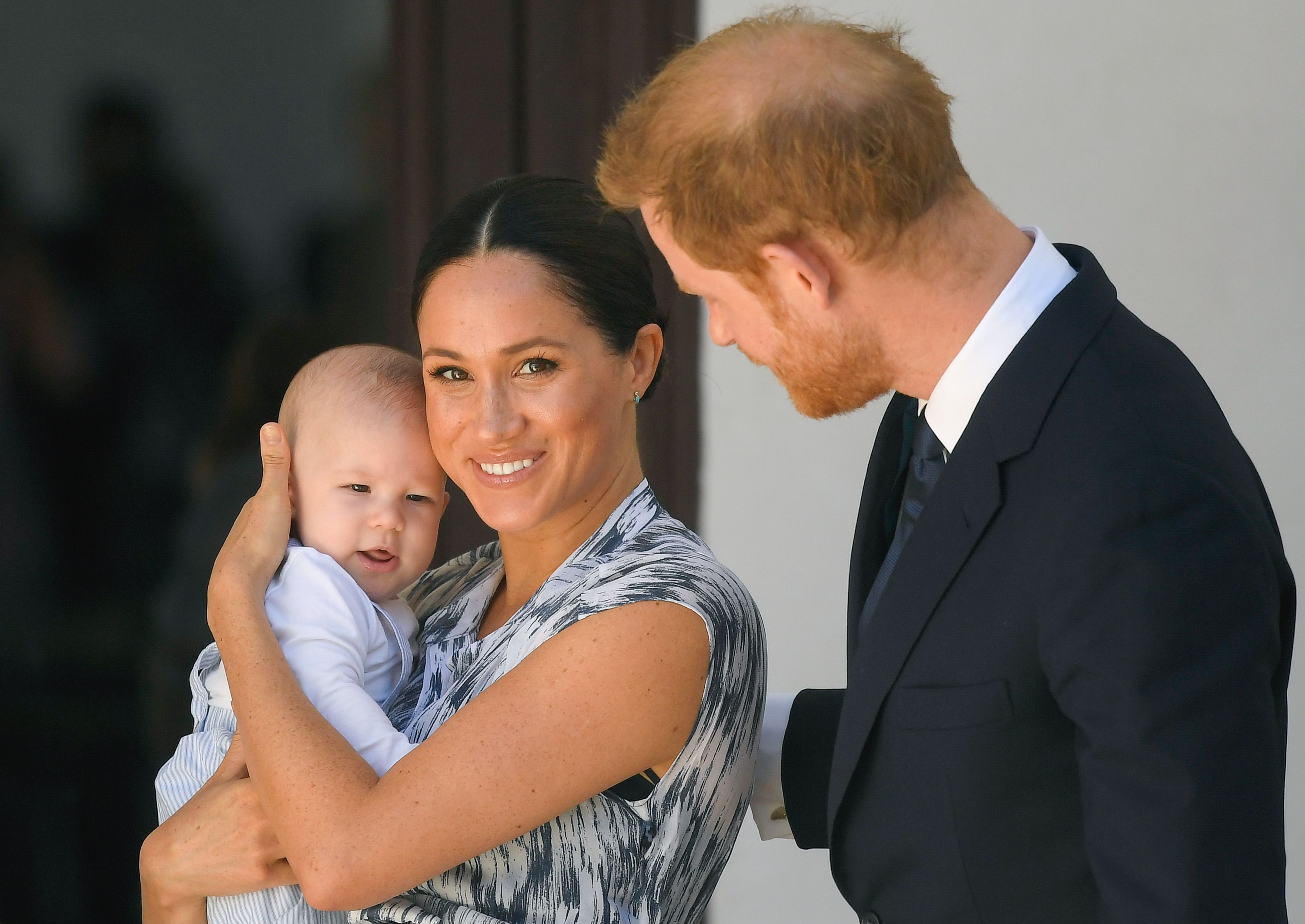 Baby Archie Mountbatten-Windsor, Duchess Meghan, and Prince Harry meet Archbishop Desmond Tutu during their royal tour of South Africa on September 25, 2019, in Cape Town   Photo: Pool/Samir Hussein/WireImage/Getty Images