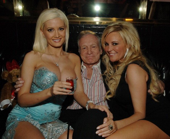 Holly Madison, Hugh Hefner, and Bridget Marquardt at The Playboy Club at The Palms Hotel and Casino Resort in Las Vegas, Nevada in 2007. | Photo: Getty Images