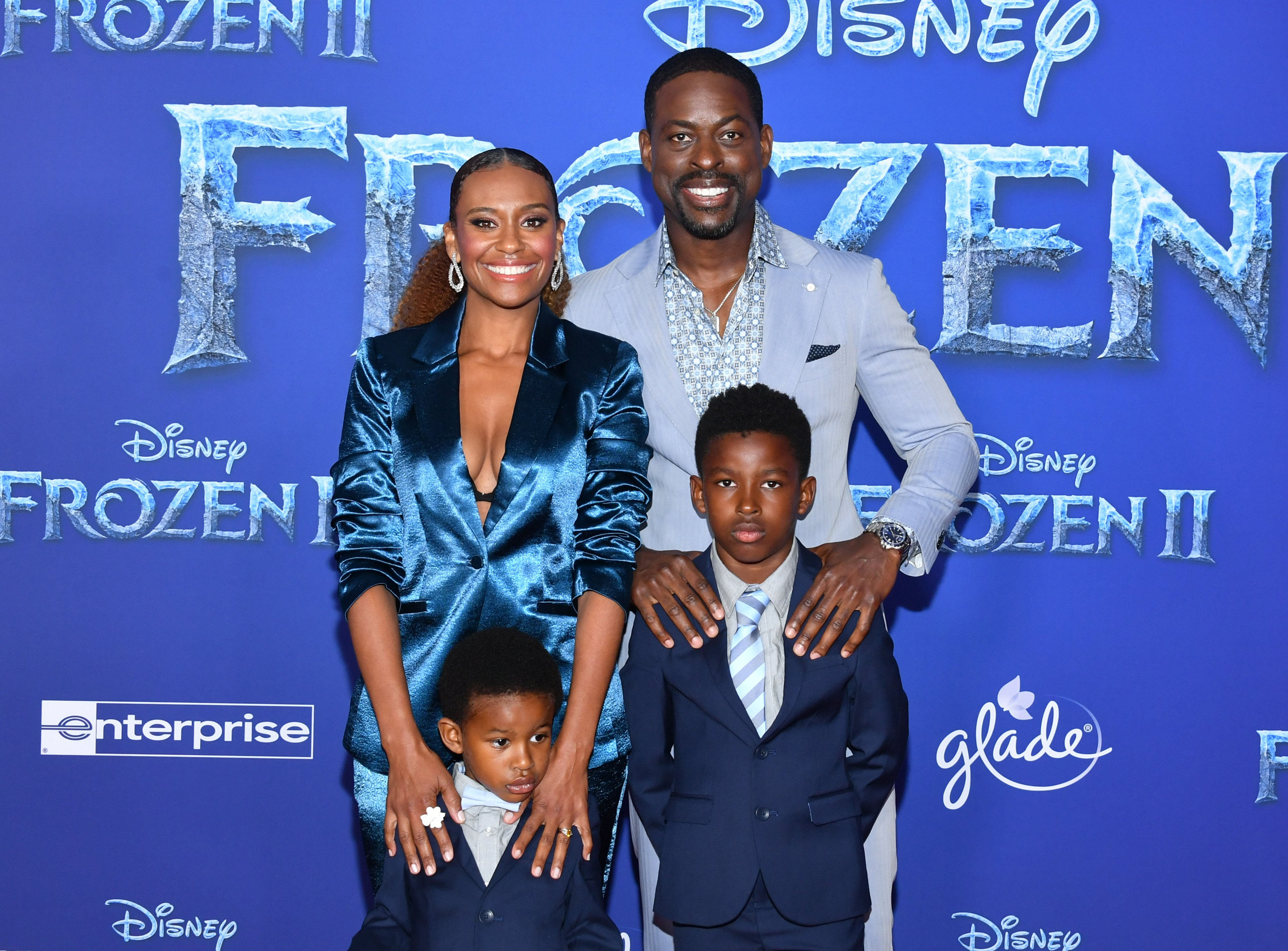 """Ryan Michelle Bathe & Sterling K. Brown with their sons at the premiere of """"Frozen 2"""" on Nov. 07, 2019 in California 