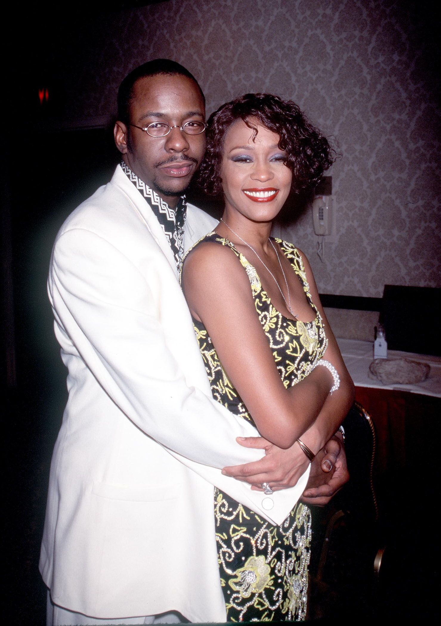 "Whitney Houston with Bobby Brown at ""Whitney Houston''s All-Star Holiday Gala"" in New York. 