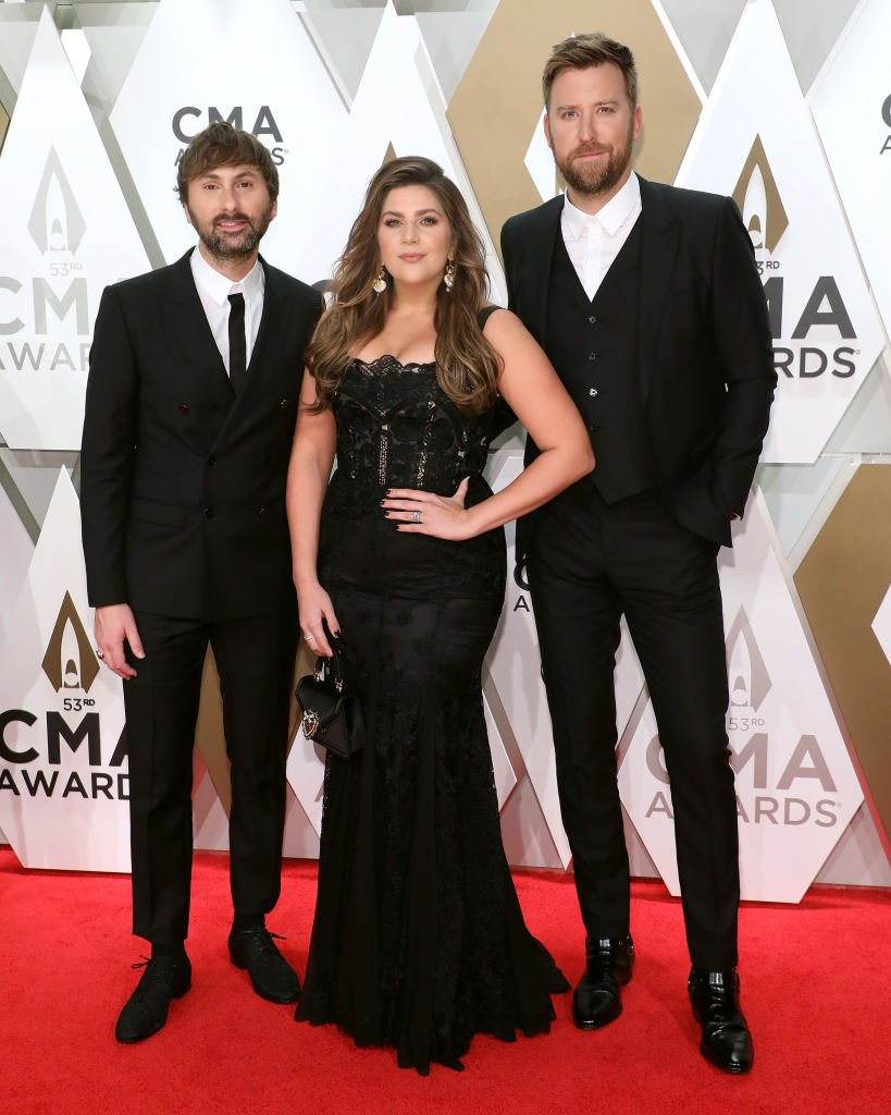Dave Haywood, Hillary Scott, and Charles Kelley of Lady Antebellum attend the 53nd annual CMA Awards at Bridgestone Arena on November 13, 2019   Photo: Getty Images