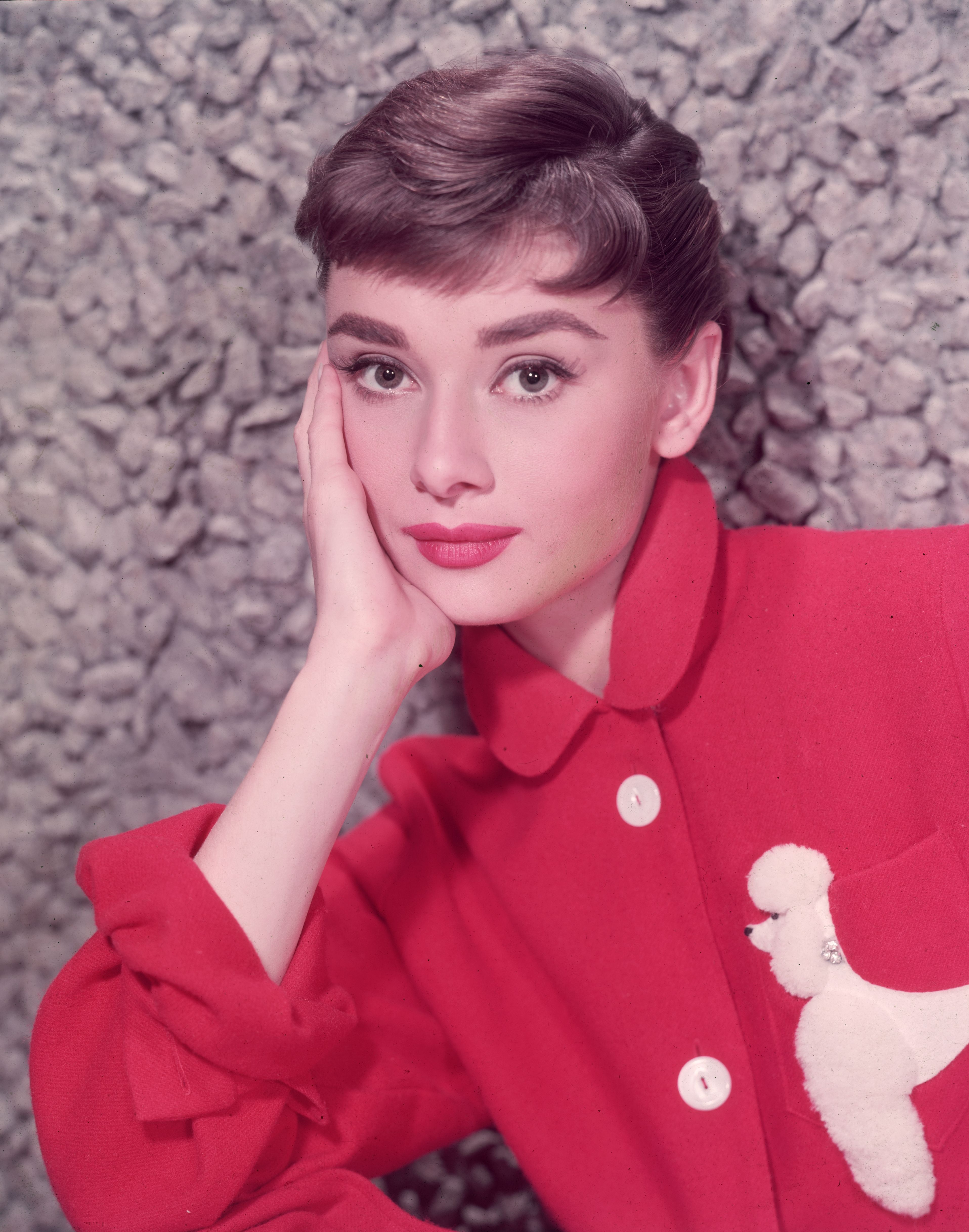 Headshot portrait of Belgian-born actor Audrey Hepburn (1929 - 1993) leaning on her hand in a red jacket with a poodle applique on January 01, 1955 | Photo: Getty Images