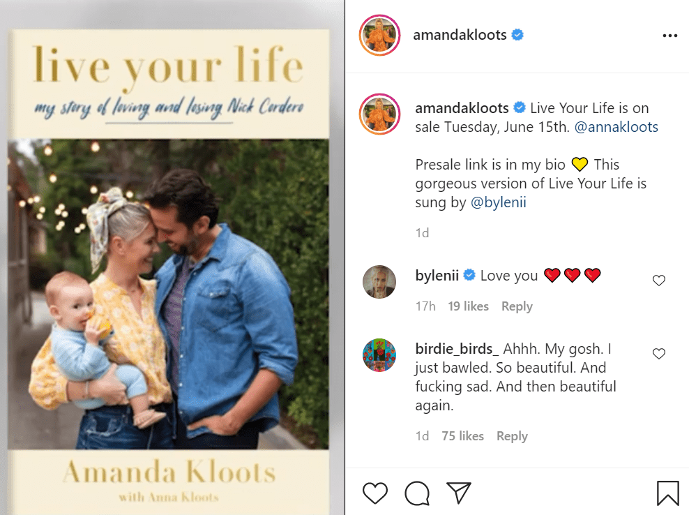 Pictured - A screengrab of Amanda Kloots paying tribute to her late husband Nick Cordero   Source: Instagram/@amandakloots
