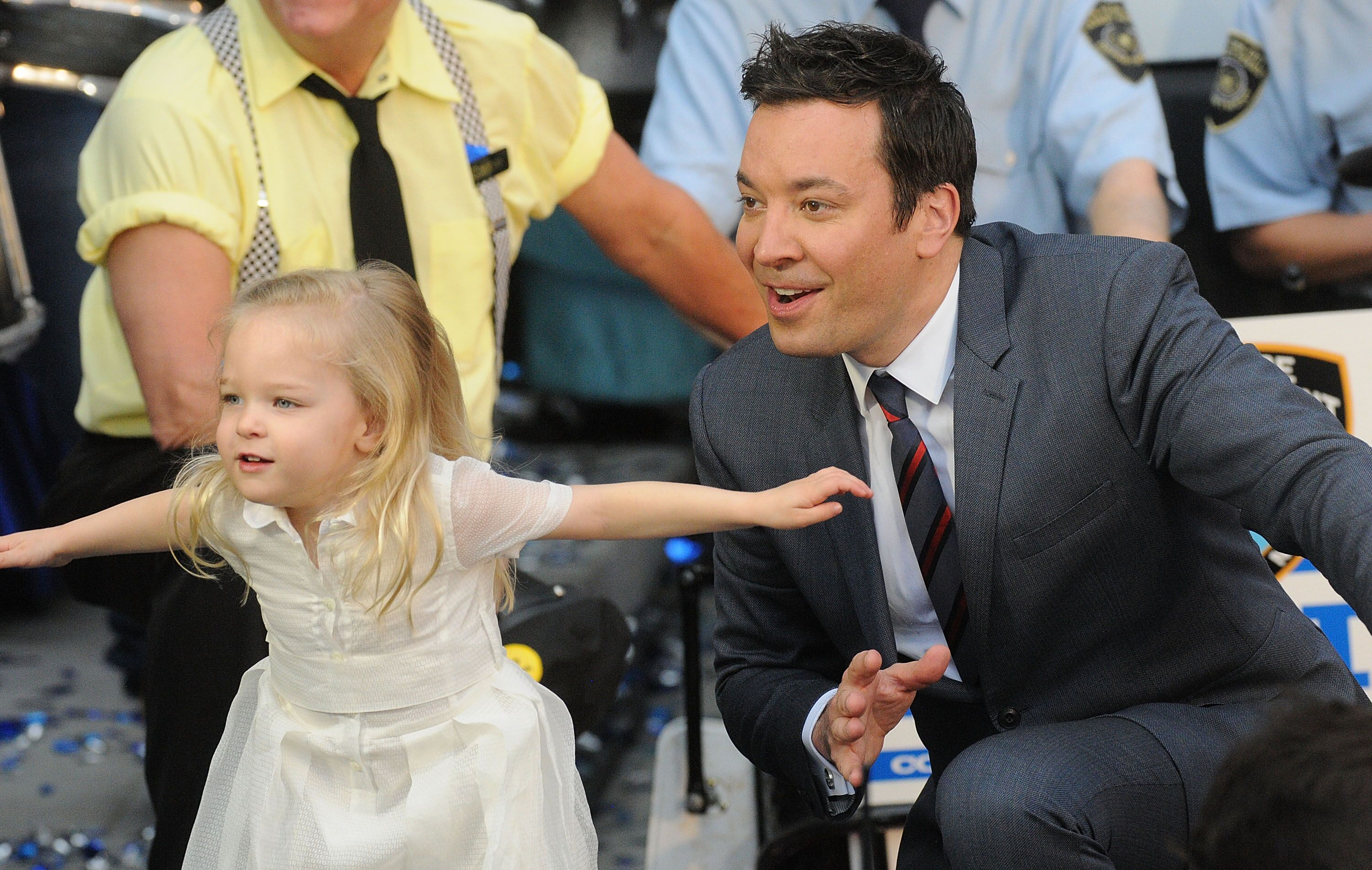 """Jimmy Fallon dances with his daughter Winnie Rose during the Grand Opening of Universal Orlando's Newest Attraction """"Race Through New York Starring Jimmy Fallon"""" at Universal Orlando on April 6, 2017. 