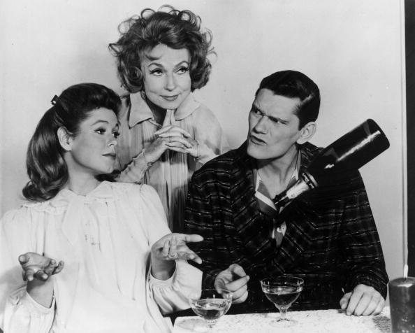 "Elizabeth Montgomery, Agnes Moorehead and Dick York from the ""Bewitched"" cast. 