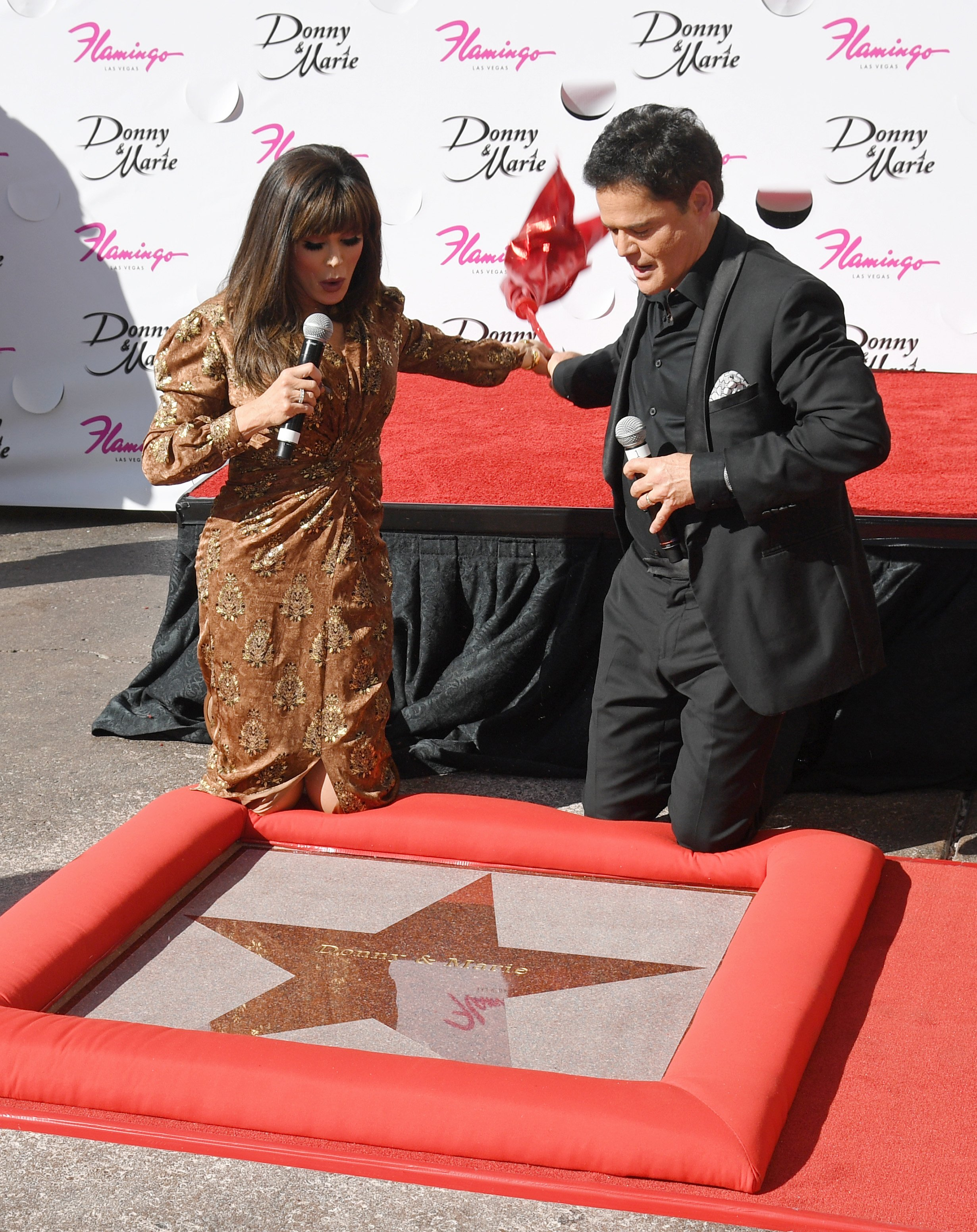 Donny and Marie Osmond unveil their star from the Las Vegas Walk of Stars outside Flamingo Las Vegas on October 4, 2019 in Las Vegas, Nevada   Source: Getty Images