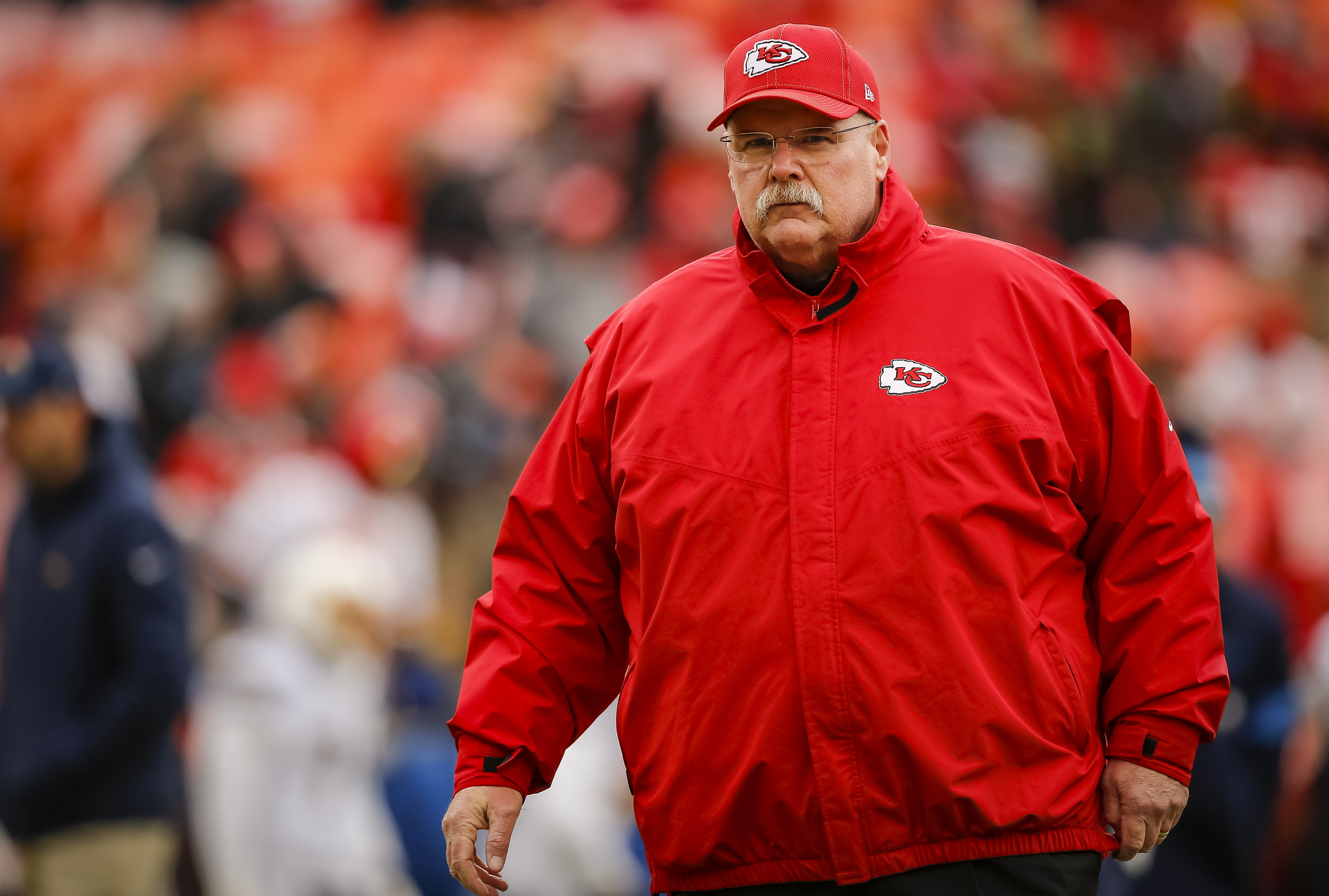 Andy Reid walks the football field during pregame warmups prior to the game against the Los Angeles Chargers at Arrowhead Stadium on December 29, 2019 in Kansas City, Missouri | Photo: Getty Images