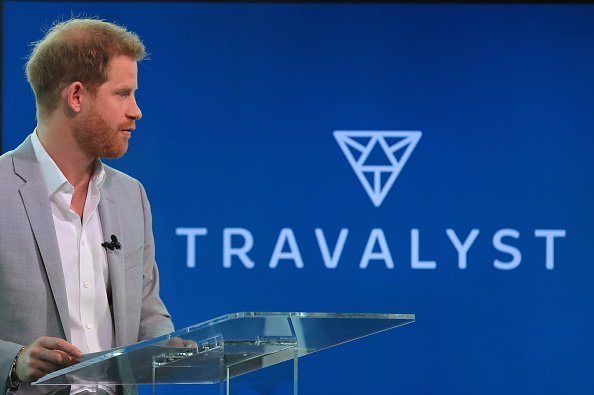 The Duke of Sussex speaking at the A'DAM Tower in Amsterdam during the launch of a new travel industry partnership   Photo: Getty Images