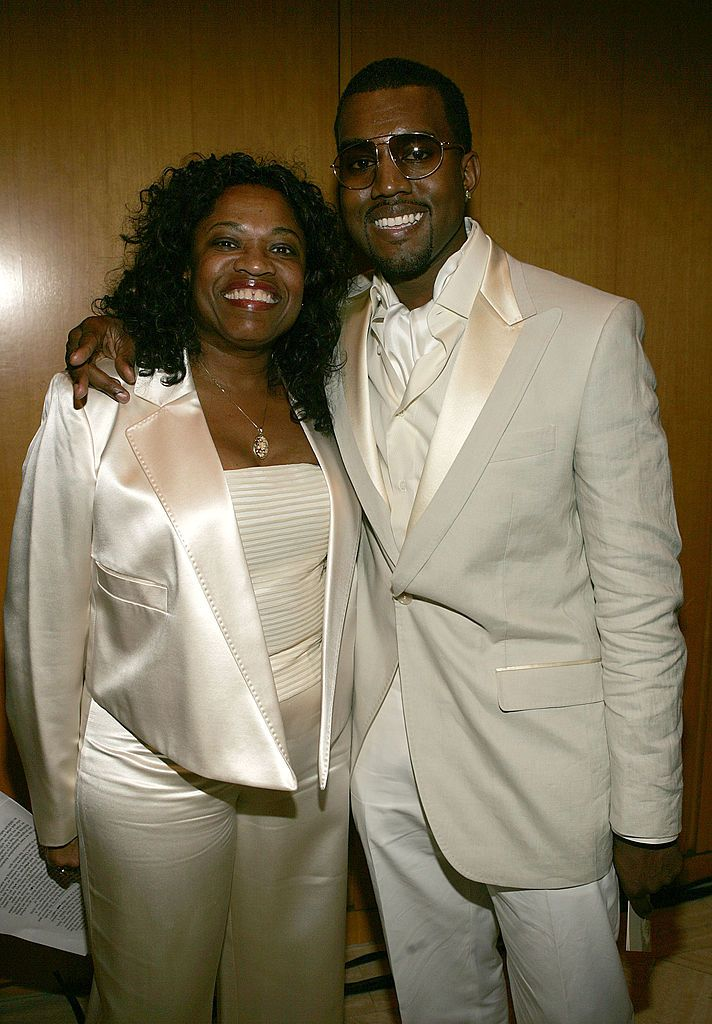 rapper Kanye West with his mother Donda West at the Kanye West and Creative Artist Agency Foundation launch of the Kanye West Foundation for music education in the schools in Beverly Hills, California | Photo: Frank Micelotta/Getty Images.
