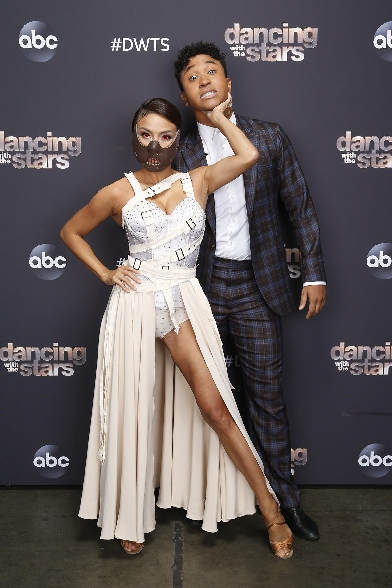 """Jeannie Mai and Brandon Armstrong on October 26, 2020 for """"Dancing with the Stars"""" Villains Night   Photo: Getty Images"""