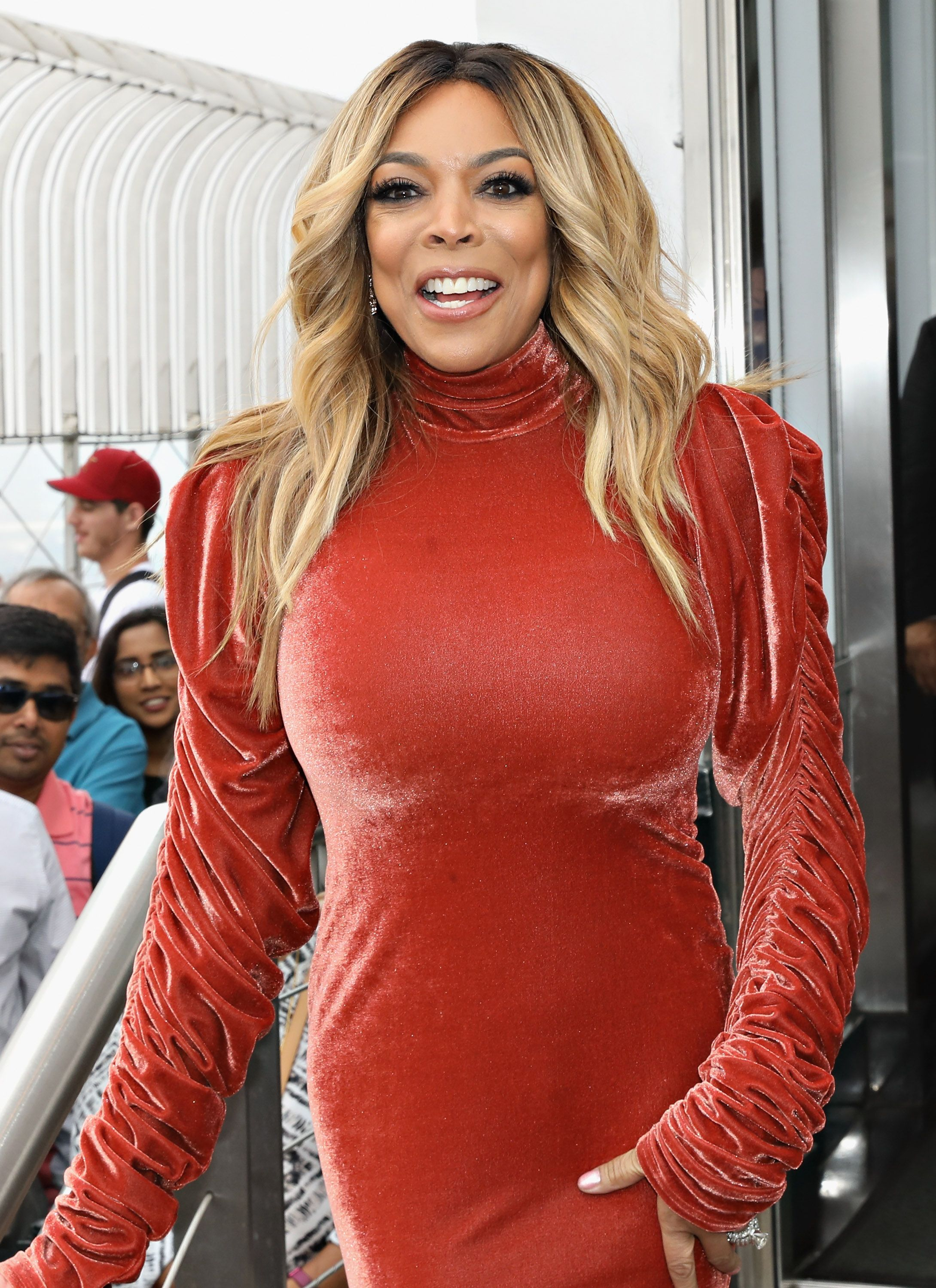 "Wendy Williams poses for a photo on the observation deck after taking part in the ceremonial lighting of the Empire State Building to celebrate the ninth season of ""The Wendy Williams Show"" on September 18, 2017 