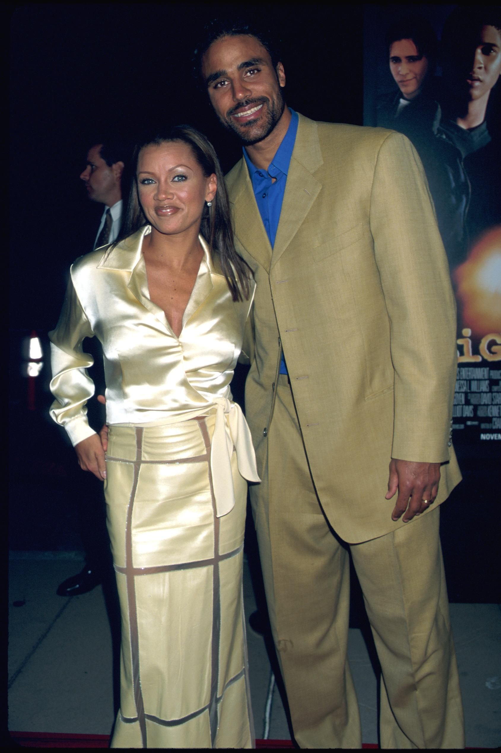 "Vanessa Williams and husband Rick Fox at the film premiere of her movie, ""Light It Up"" in 1999 