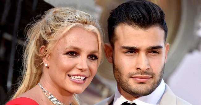 """Britney Spears and Sam Asghari at Sony Pictures' """"Once Upon a Time ... in Hollywood"""" Los Angeles premiere in Hollywood, California 