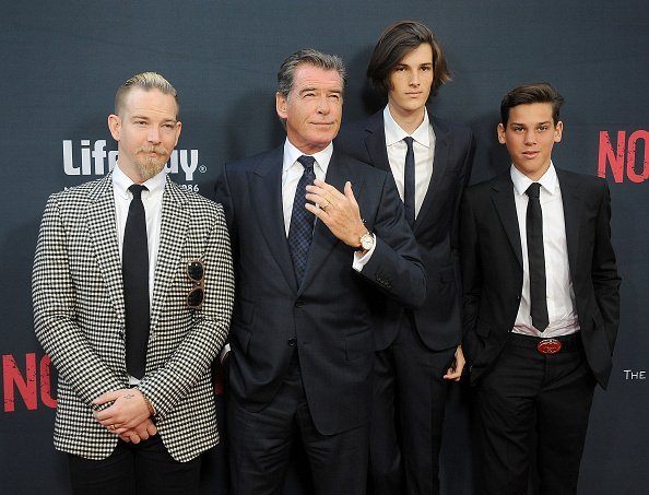 """Sean Brosnan, Pierce Brosnan, Dylan Brosnan and Paris Brosnan arrive at the premiere of The Weinstein Company's """"No Escape"""" at Regal Cinemas L.A 