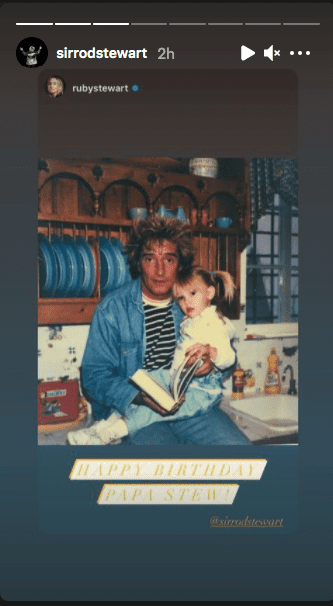 Ruby wishes her father, Rod Stewart, a happy 76th birthday, on January 10, 2020. | Source: Instagram/sirrodstewart.