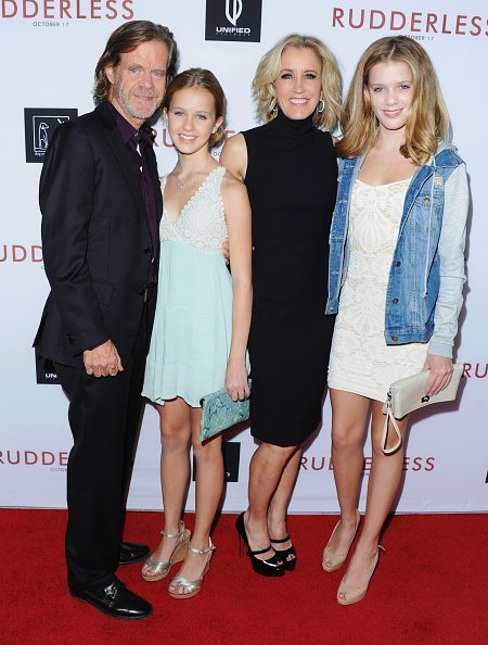 "William H. Macy, daughter Georgia Macy, Actress Felicity Huffman and daughter Sofia Macy at the Los Angeles VIP Screening ""Rudderless"" in Los Angeles, California.