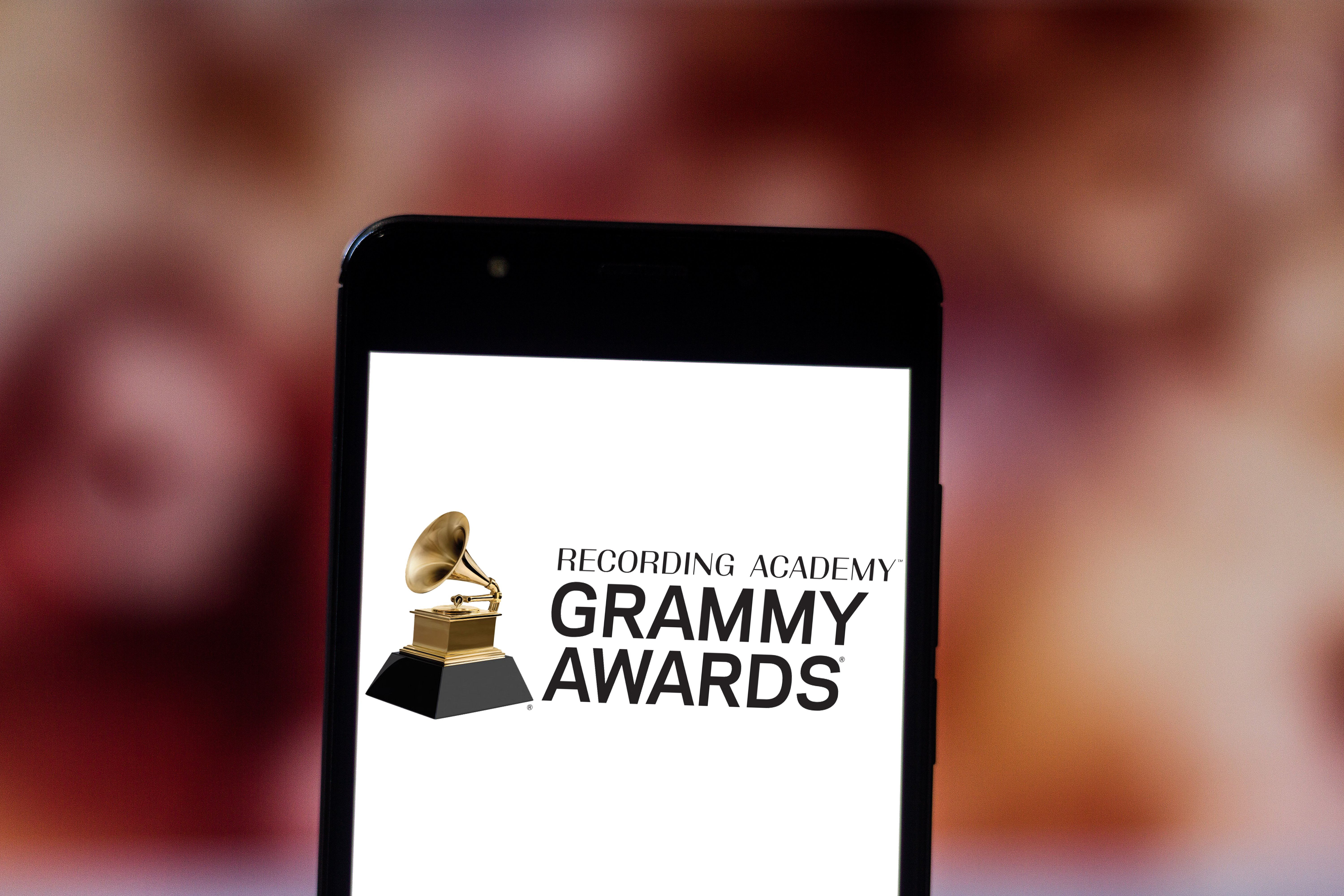 The Grammy Awards logo is displayed on a smartphone in Brazil, June 19, 2019   Photo: Shutterstock