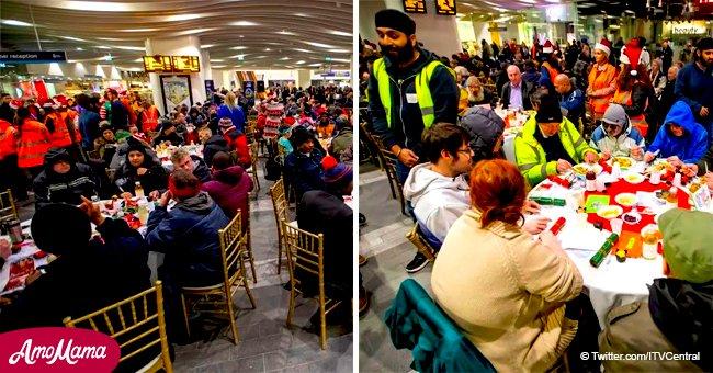 Une gare a été transformée en hall de Noël pour organiser un dîner de charité pour les sans-abris