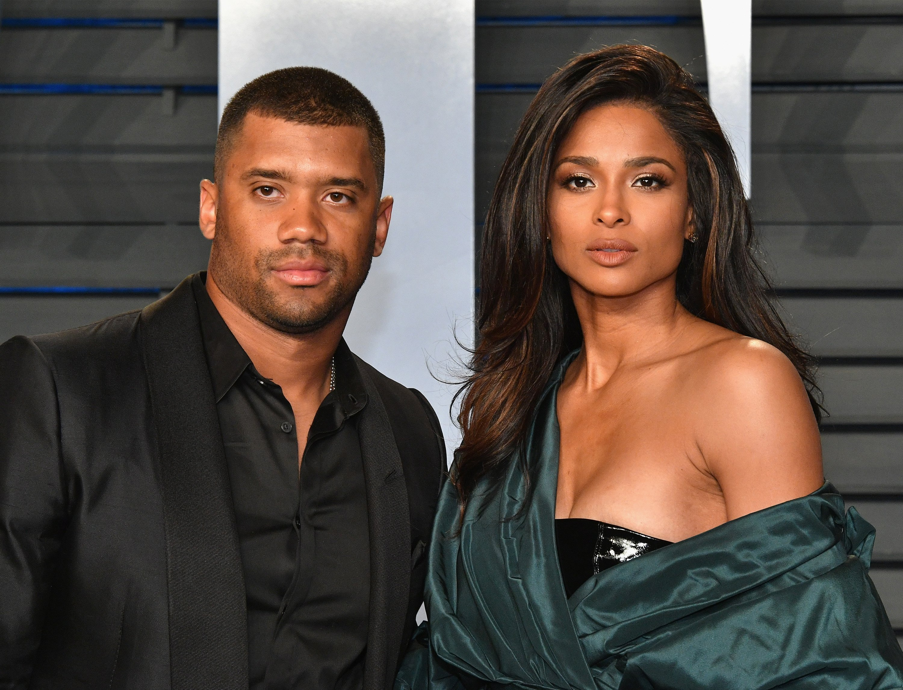 Russell and Ciara Wilson at the 2018 Vanity Fair Oscar Party at Wallis Annenberg Center for the Performing Arts on March 4, 2018 in Beverly Hills, California.| Source: Getty Images