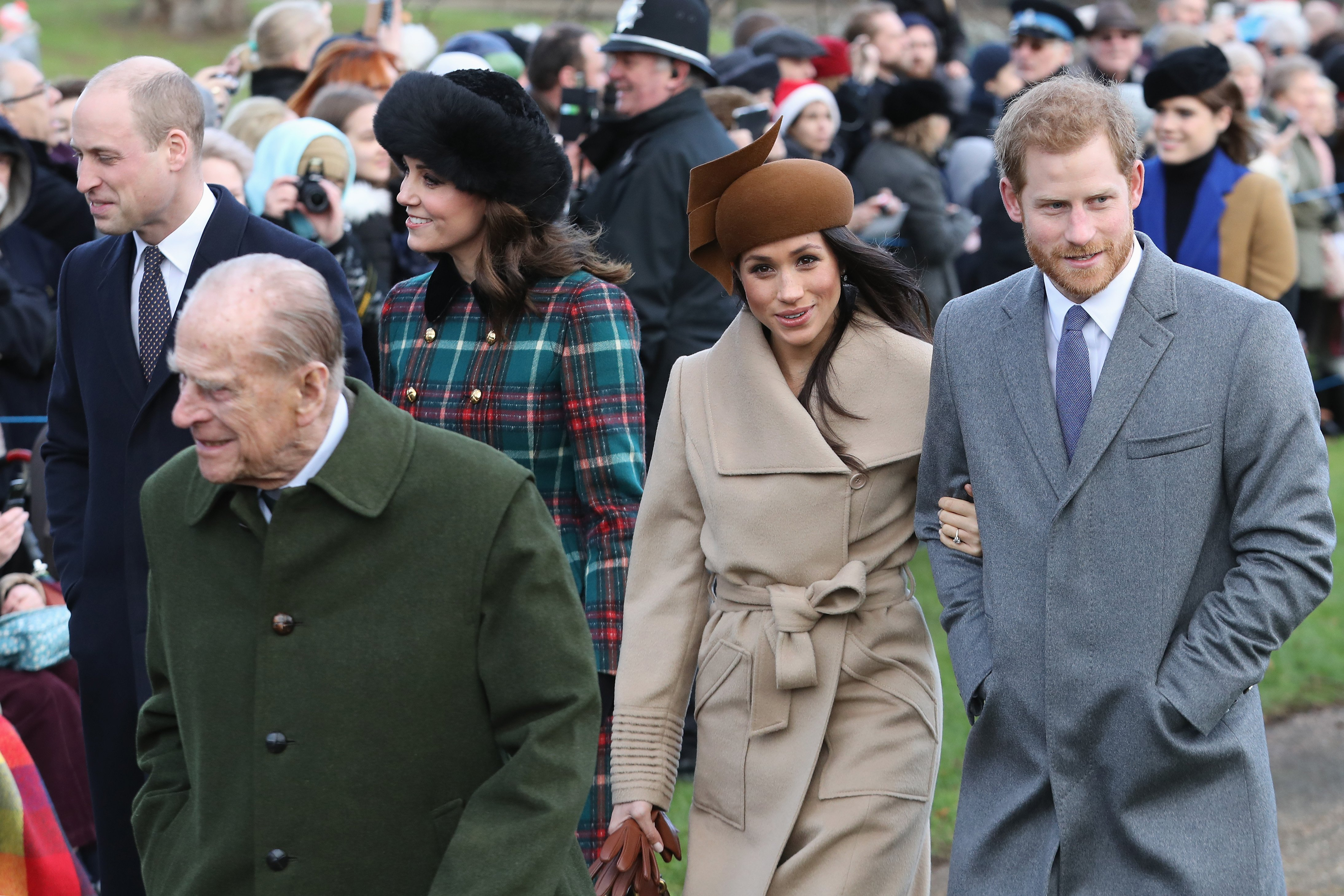 Prince William, Prince Philip, Kate Middleton, Meghan Markle and Prince Harry attend Christmas Day church service on December 25, 2017 in King's Lynn, England | Photo: Getty Images