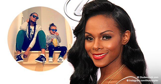 Tika Sumpter proudly poses with her mini-me, showing off how much they look alike