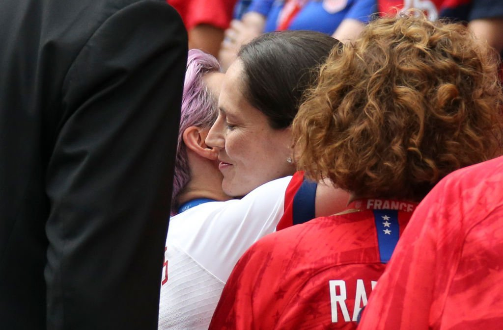 Megan Rapinoe of USA hugs her girlfriend Sue Bird following the 2019 FIFA Women's World Cup France Final match between The United State of America (USA) and The Netherlands (Holland) at Groupama Stadium | Photo: Getty Images